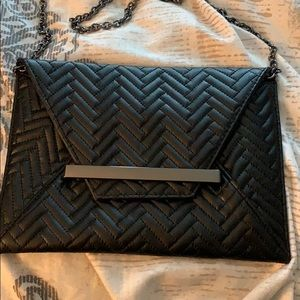 Black Clutch/Evening purse with optional strap